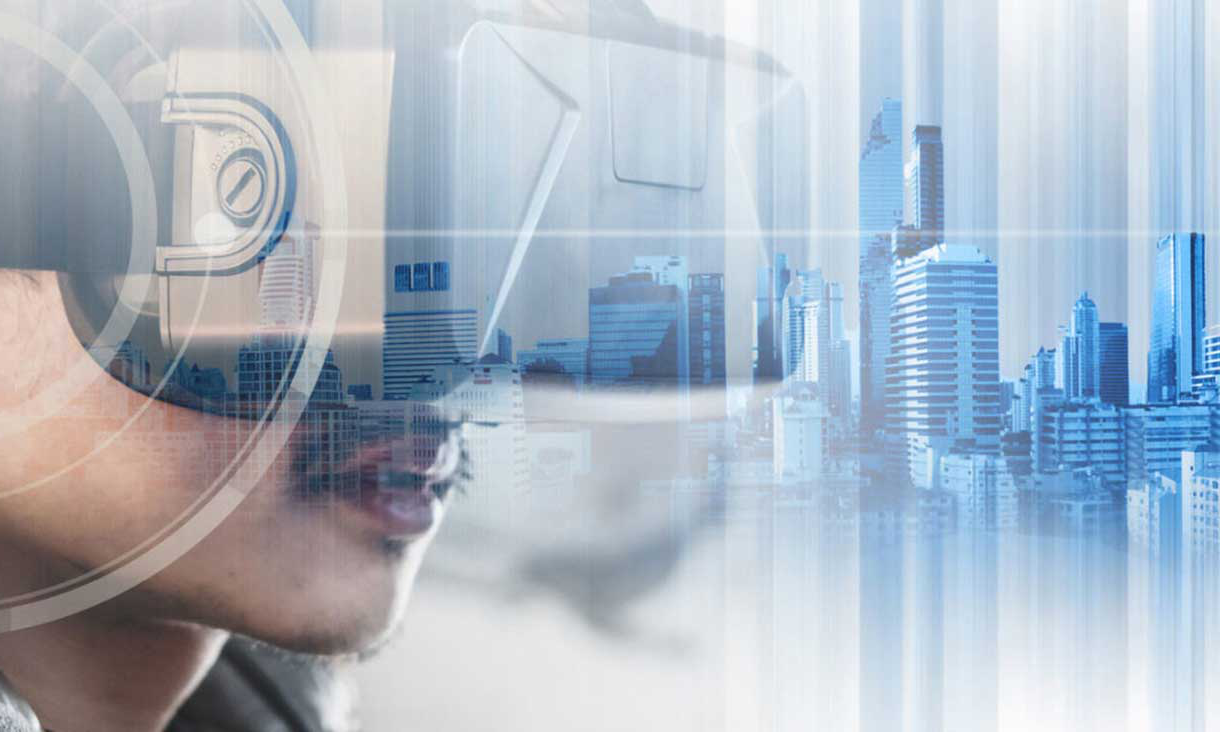 Stock photo of man wearing VR headset and CGI city scape