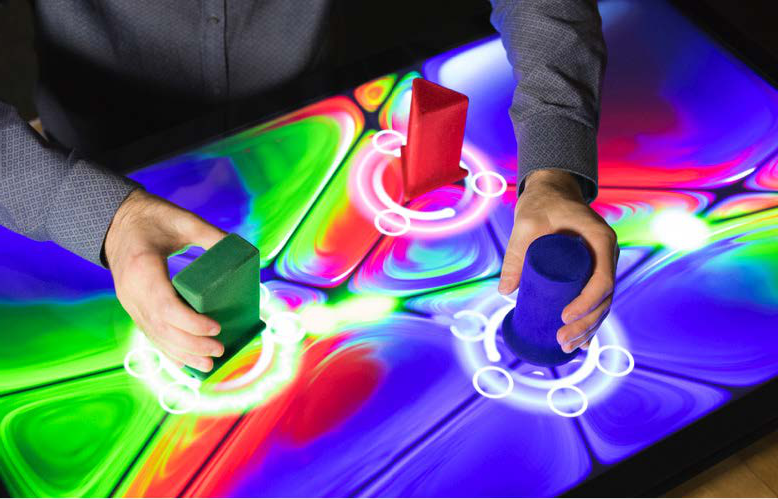 An interactive screen with shapes