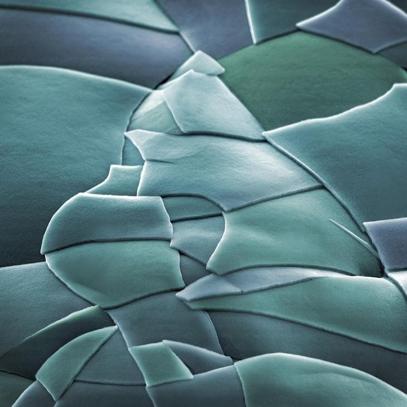 An extreme closeup of material through a microscope