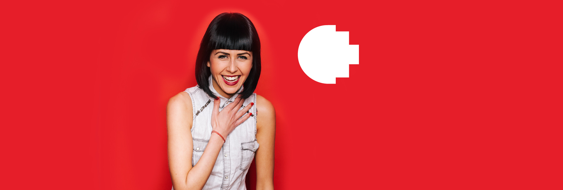 Woman with red background and white pixel